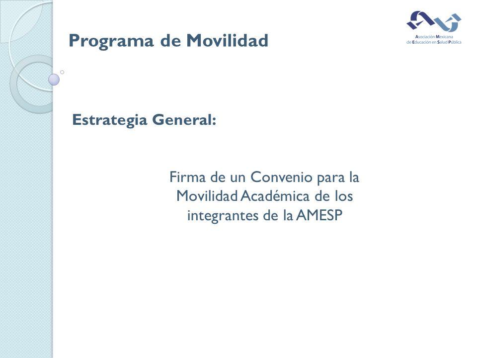 Estrategia General: Firma de un Convenio para la Movilidad Académica de los integrantes de la AMESP Programa de Movilidad