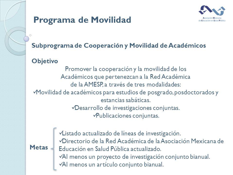 Subprograma de Cooperación y Movilidad de Académicos Objetivo Promover la cooperación y la movilidad de los Académicos que pertenezcan a la Red Académica de la AMESP, a través de tres modalidades: Movilidad de académicos para estudios de posgrado, posdoctorados y estancias sabáticas.