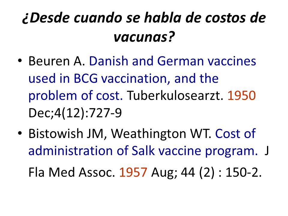 ¿Desde cuando se habla de costos de vacunas? Beuren A. Danish and German vaccines used in BCG vaccination, and the problem of cost. Tuberkulosearzt. 1