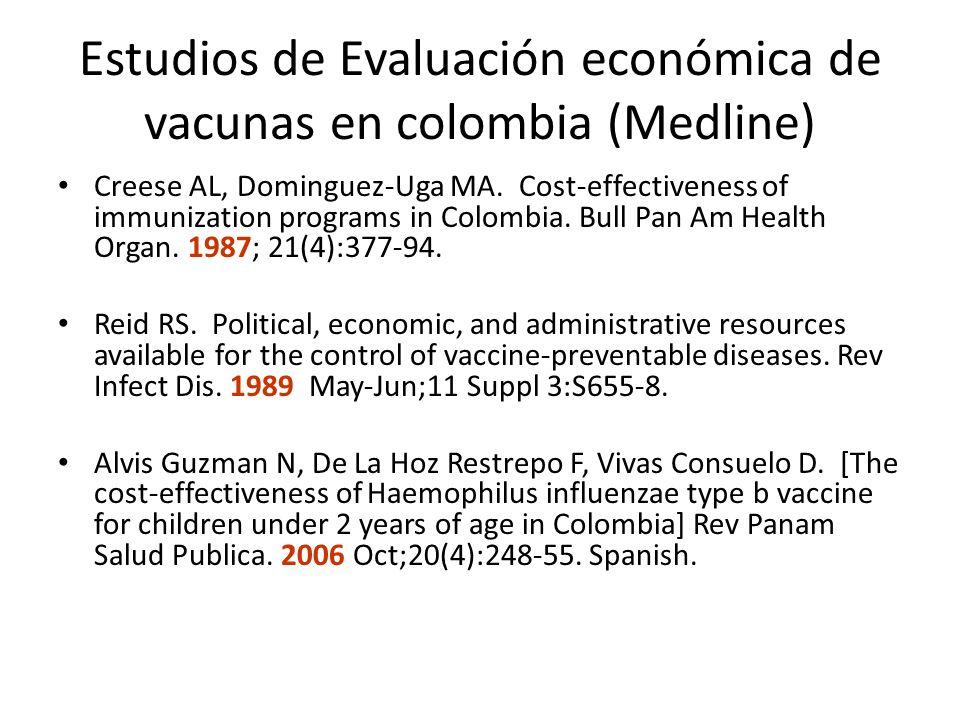 Estudios de Evaluación económica de vacunas en colombia (Medline) Creese AL, Dominguez-Uga MA. Cost-effectiveness of immunization programs in Colombia