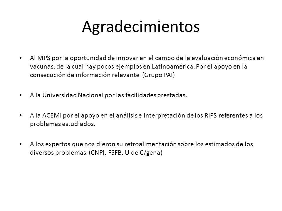 Agradecimientos Al MPS por la oportunidad de innovar en el campo de la evaluación económica en vacunas, de la cual hay pocos ejemplos en Latinoamérica