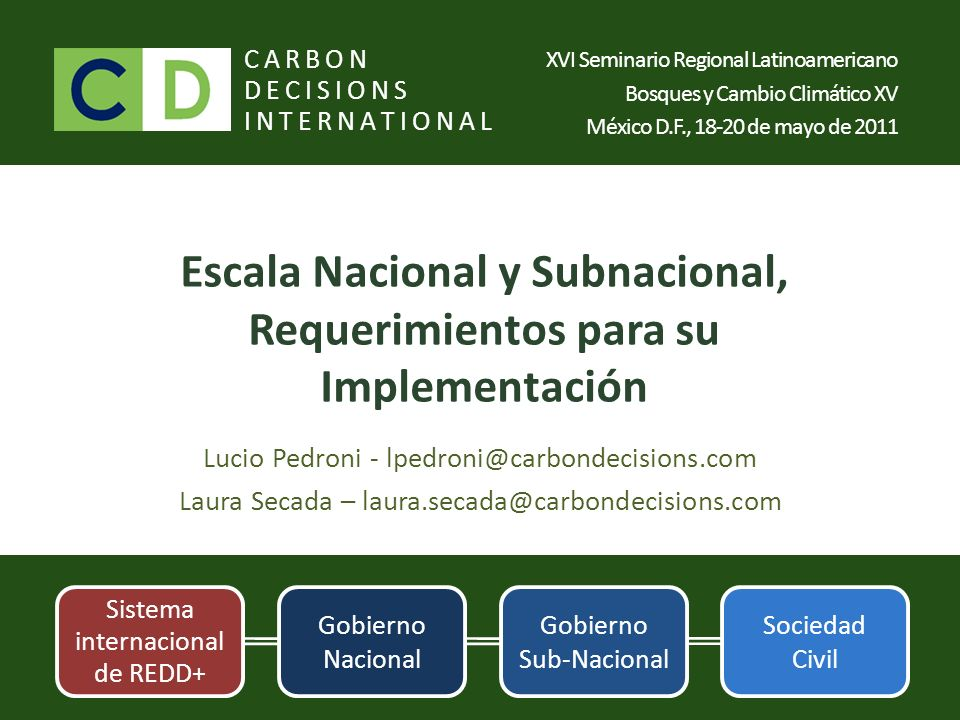 Escala Nacional y Subnacional, Requerimientos para su Implementación Lucio Pedroni - lpedroni@carbondecisions.com Laura Secada – laura.secada@carbonde