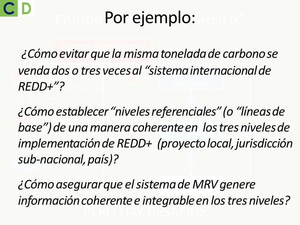 Gobierno nacional Gobierno sub-nacional Proyecto 4 5 6 Sistema internacional de REDD+ 1 3 2 PERO HAY DESAFIOS… Enfoque Nested Approach 1 = Decisión de
