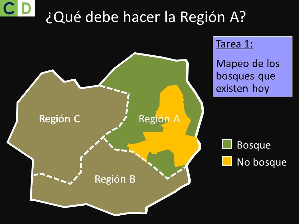 Bosque No bosque ¿Qué debe hacer la Región A? Región C Región B Tarea 1: Mapeo de los bosques que existen hoy Region CRegión A Region B