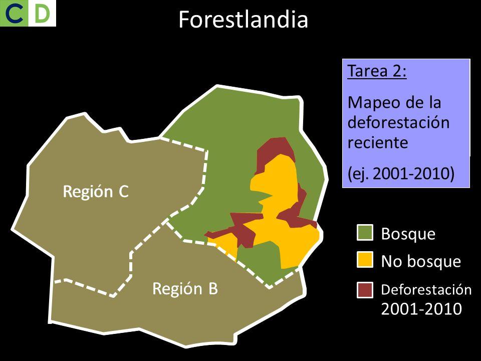 Bosque No bosque Región C Región B Task 1: Mapping current forest cover Region C Region B Tarea 2: Mapeo de la deforestación reciente (ej. 2001-2010)