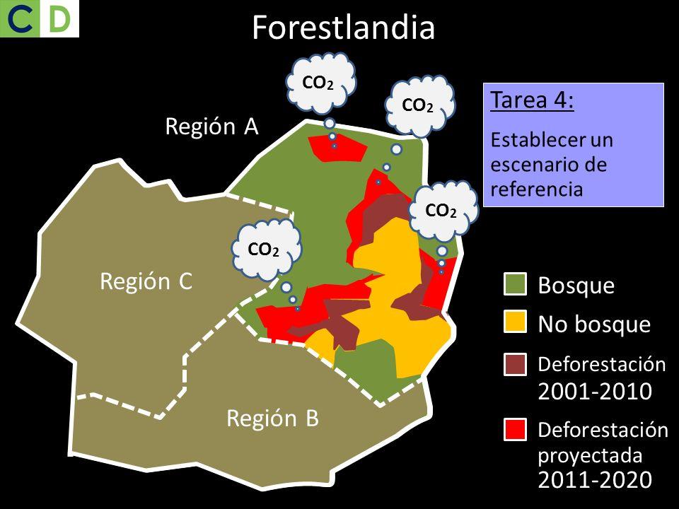 Bosque Región C Región B Tarea 4: Establecer un escenario de referencia Región C Región B Región A No bosque Deforestación 2001-2010 Región B Región C