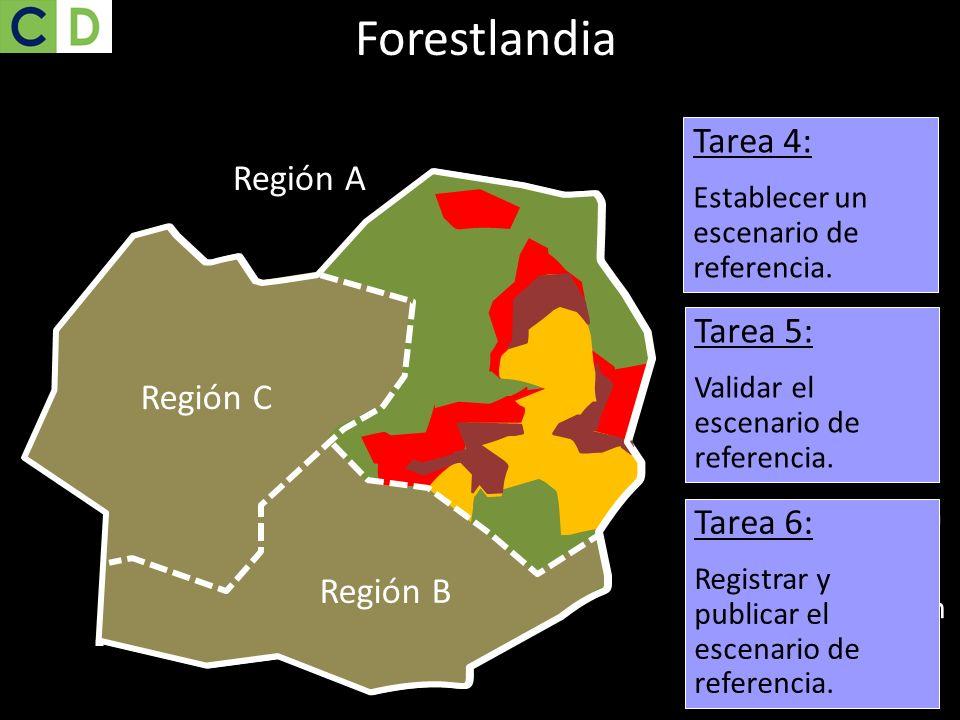 Bosque Región C Región B Tarea 4: Establecer un escenario de referencia. Región C Región B Región A Deforestación 2001-2010 Región B Región C Deforest