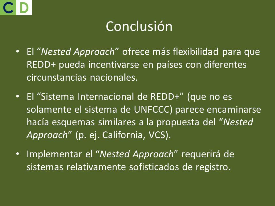 Conclusión El Nested Approach ofrece más flexibilidad para que REDD+ pueda incentivarse en países con diferentes circunstancias nacionales. El Sistema