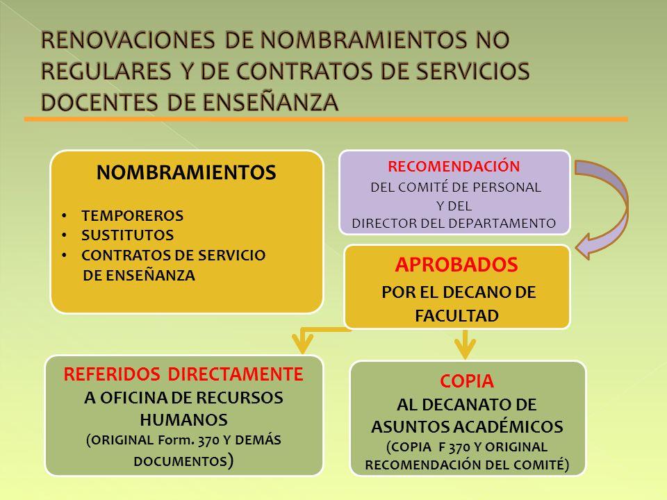 NOMBRAMIENTOS TEMPOREROS SUSTITUTOS CONTRATOS DE SERVICIO DE ENSEÑANZA APROBADOS POR EL DECANO DE FACULTAD RECOMENDACIÓN DEL COMITÉ DE PERSONAL Y DEL DIRECTOR DEL DEPARTAMENTO REFERIDOS DIRECTAMENTE A OFICINA DE RECURSOS HUMANOS (ORIGINAL Form.