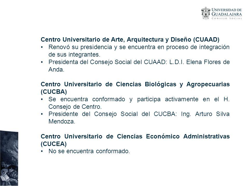 Centro Universitario de Arte, Arquitectura y Diseño (CUAAD) Renovó su presidencia y se encuentra en proceso de integración de sus integrantes. Preside