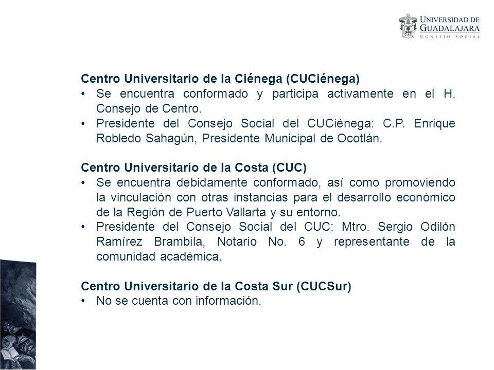 Centro Universitario de la Ciénega (CUCiénega) Se encuentra conformado y participa activamente en el H. Consejo de Centro. Presidente del Consejo Soci