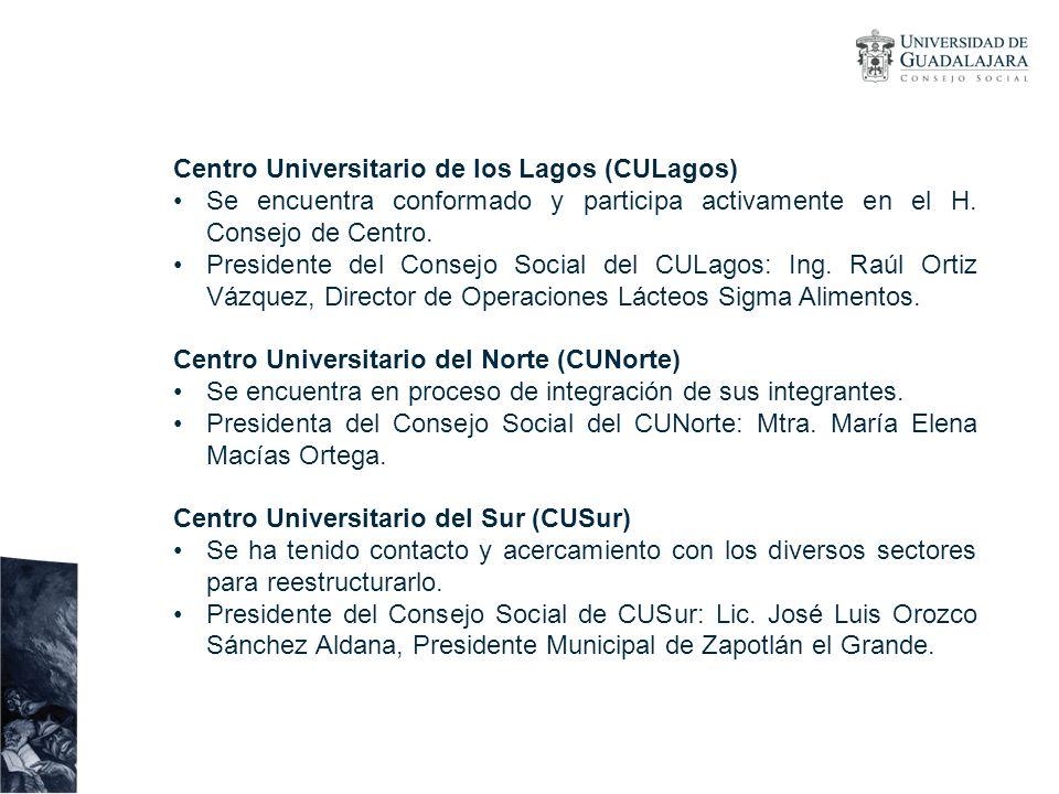 Centro Universitario de los Lagos (CULagos) Se encuentra conformado y participa activamente en el H. Consejo de Centro. Presidente del Consejo Social