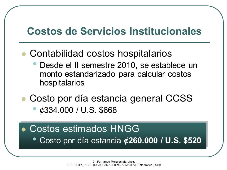 Costos de Servicios Institucionales Contabilidad costos hospitalarios Desde el II semestre 2010, se establece un monto estandarizado para calcular cos