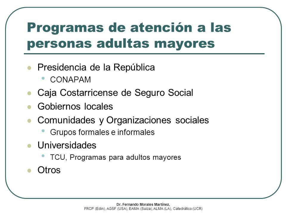 Programas de atención a las personas adultas mayores Presidencia de la República CONAPAM Caja Costarricense de Seguro Social Gobiernos locales Comunid