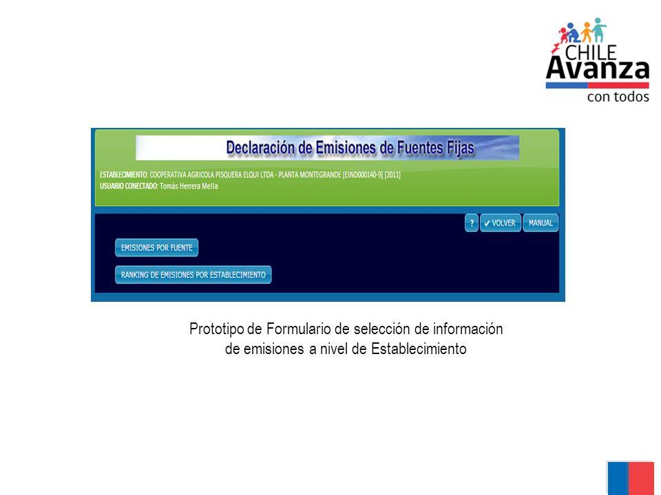Prototipo de Formulario de selección de información de emisiones a nivel de Establecimiento