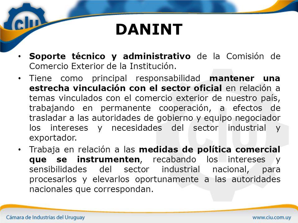 DANINT Soporte técnico y administrativo de la Comisión de Comercio Exterior de la Institución.
