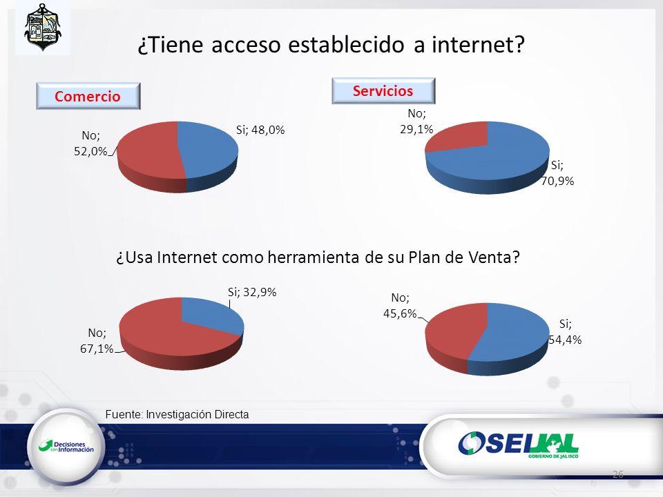Fuente: Investigación Directa ¿Tiene acceso establecido a internet? ¿Usa Internet como herramienta de su Plan de Venta? 26 Servicios Comercio