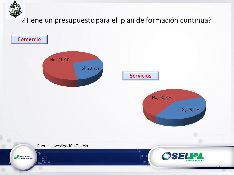 Fuente: Investigación Directa ¿Tiene un presupuesto para el plan de formación continua? 57 Servicios Comercio