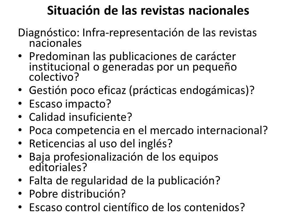 Situación de las revistas nacionales Diagnóstico: Infra-representación de las revistas nacionales Predominan las publicaciones de carácter institucional o generadas por un pequeño colectivo.