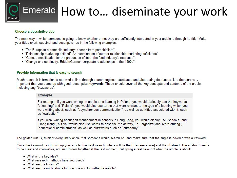 How to… diseminate your work