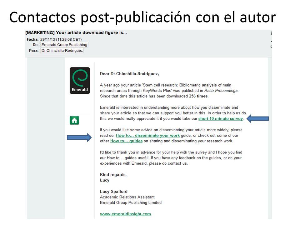 Contactos post-publicación con el autor