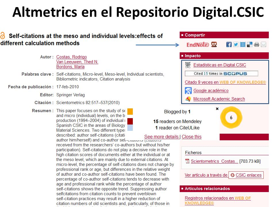 Altmetrics en el Repositorio Digital.CSIC