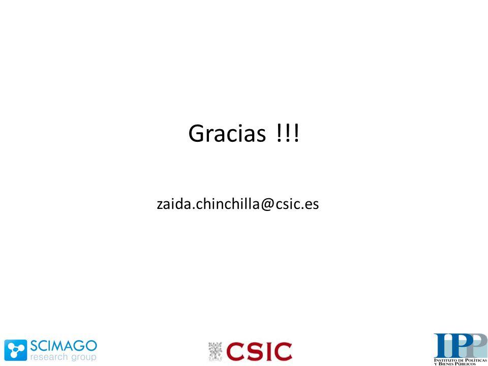 Gracias !!! zaida.chinchilla@csic.es