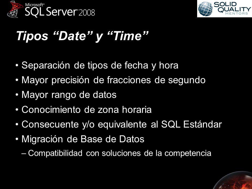 Tipos Date y Time Separación de tipos de fecha y hora Mayor precisión de fracciones de segundo Mayor rango de datos Conocimiento de zona horaria Consecuente y/o equivalente al SQL Estándar Migración de Base de Datos –Compatibilidad con soluciones de la competencia