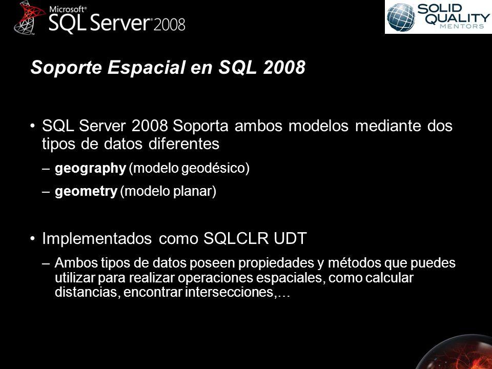 Soporte Espacial en SQL 2008 SQL Server 2008 Soporta ambos modelos mediante dos tipos de datos diferentes –geography (modelo geodésico) –geometry (modelo planar) Implementados como SQLCLR UDT –Ambos tipos de datos poseen propiedades y métodos que puedes utilizar para realizar operaciones espaciales, como calcular distancias, encontrar intersecciones,…