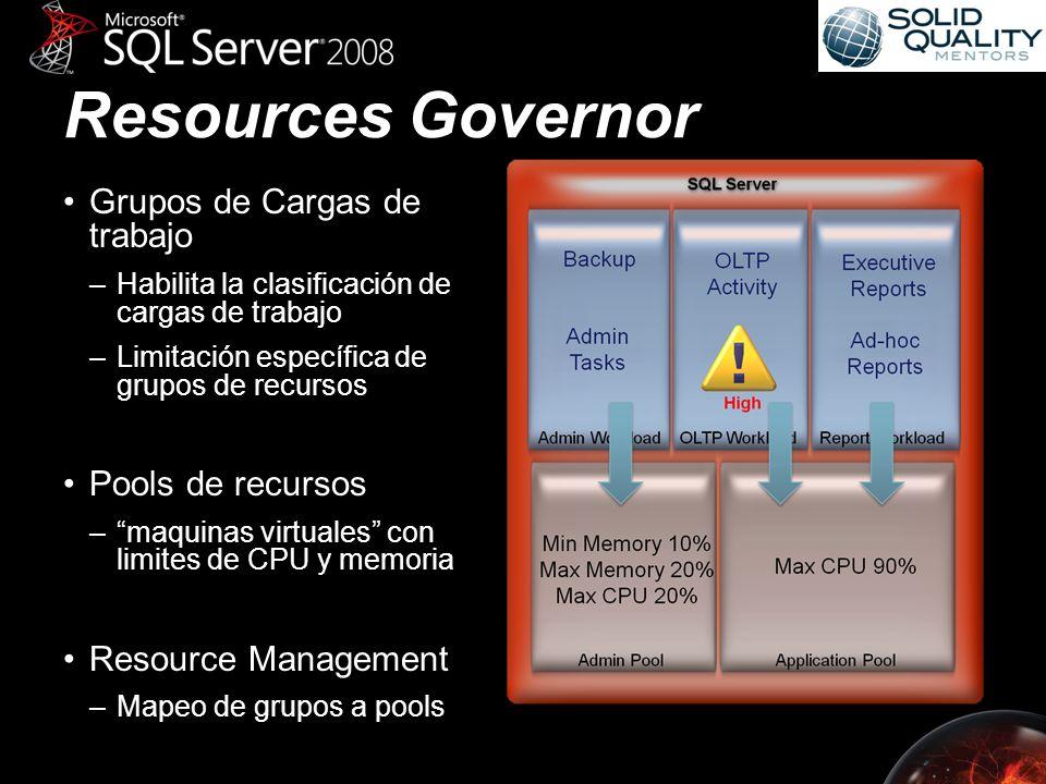 Resources Governor Grupos de Cargas de trabajo –Habilita la clasificación de cargas de trabajo –Limitación específica de grupos de recursos Pools de recursos –maquinas virtuales con limites de CPU y memoria Resource Management –Mapeo de grupos a pools