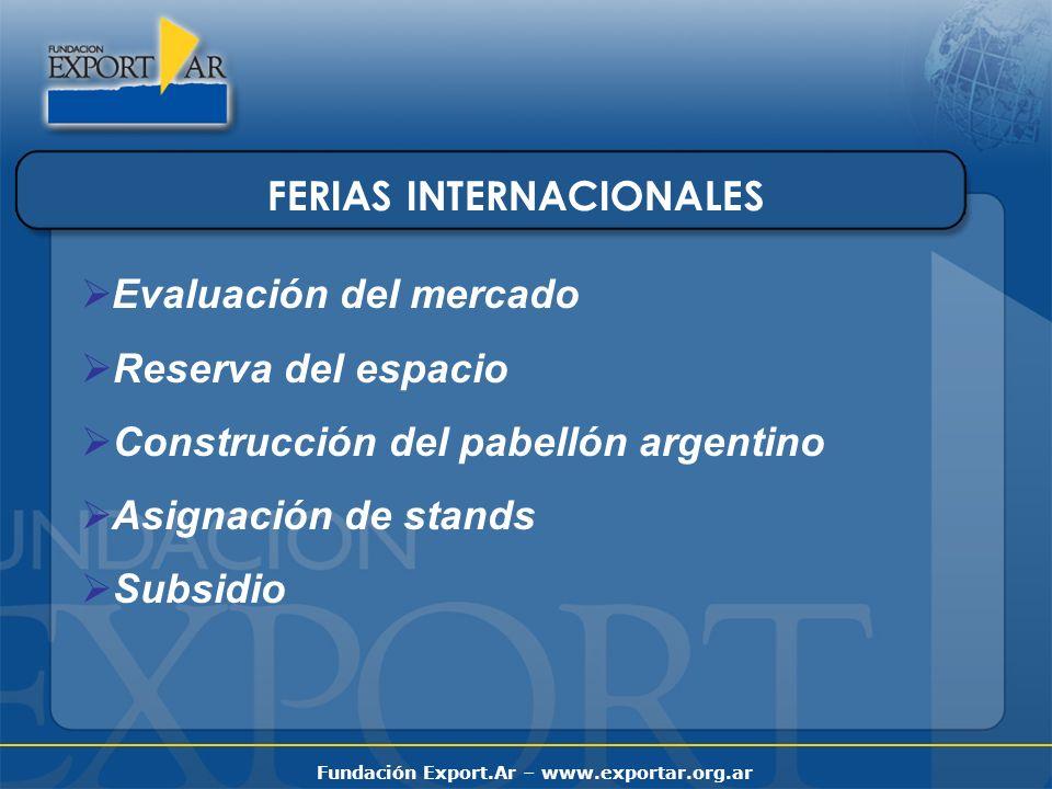 Fundación Export.Ar – www.exportar.org.ar FERIAS INTERNACIONALES Evaluación del mercado Reserva del espacio Construcción del pabellón argentino Asigna
