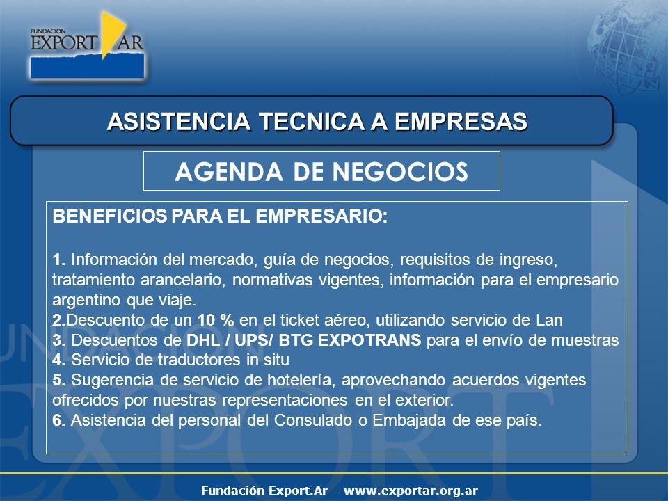 Fundación Export.Ar – www.exportar.org.ar ASISTENCIA TECNICA A EMPRESAS AGENDA DE NEGOCIOS BENEFICIOS PARA EL EMPRESARIO: 1. Información del mercado,