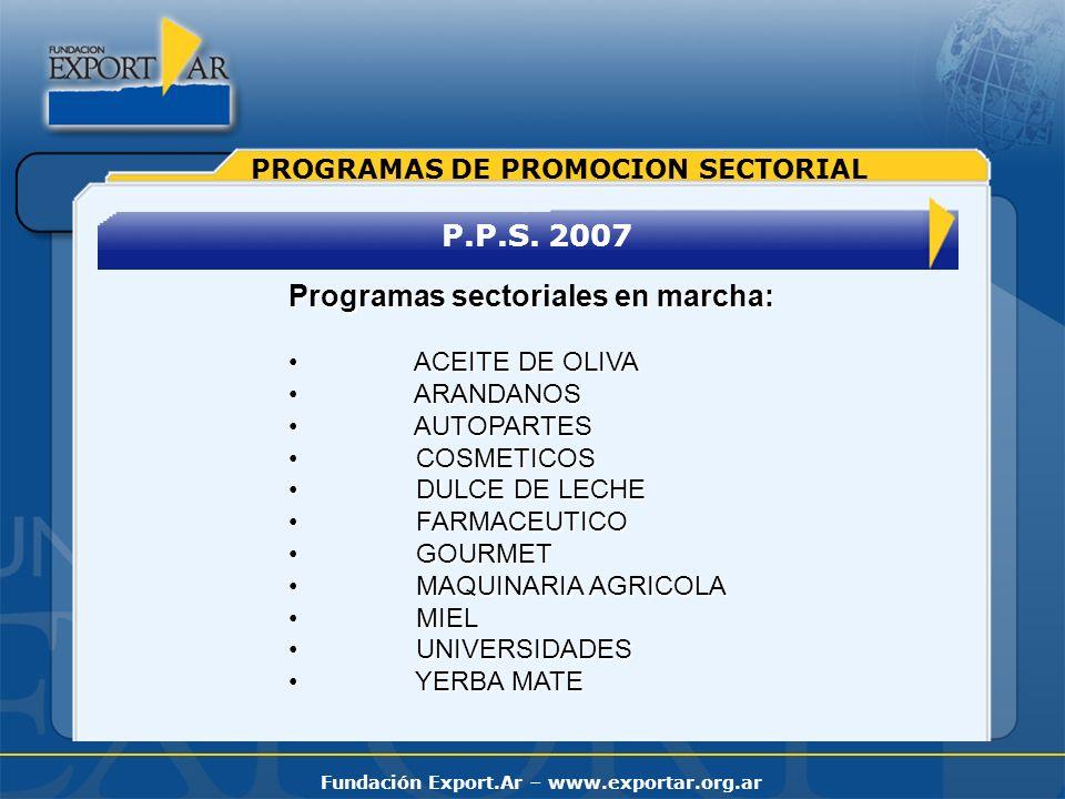 Fundación Export.Ar – www.exportar.org.ar P.P.S. 2007 PROGRAMAS DE PROMOCION SECTORIAL Programas sectoriales en marcha: ACEITE DE OLIVA ACEITE DE OLIV