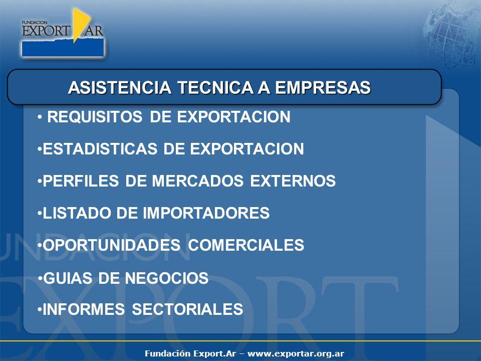 Fundación Export.Ar – www.exportar.org.ar ASISTENCIA TECNICA A EMPRESAS REQUISITOS DE EXPORTACION ESTADISTICAS DE EXPORTACION PERFILES DE MERCADOS EXT