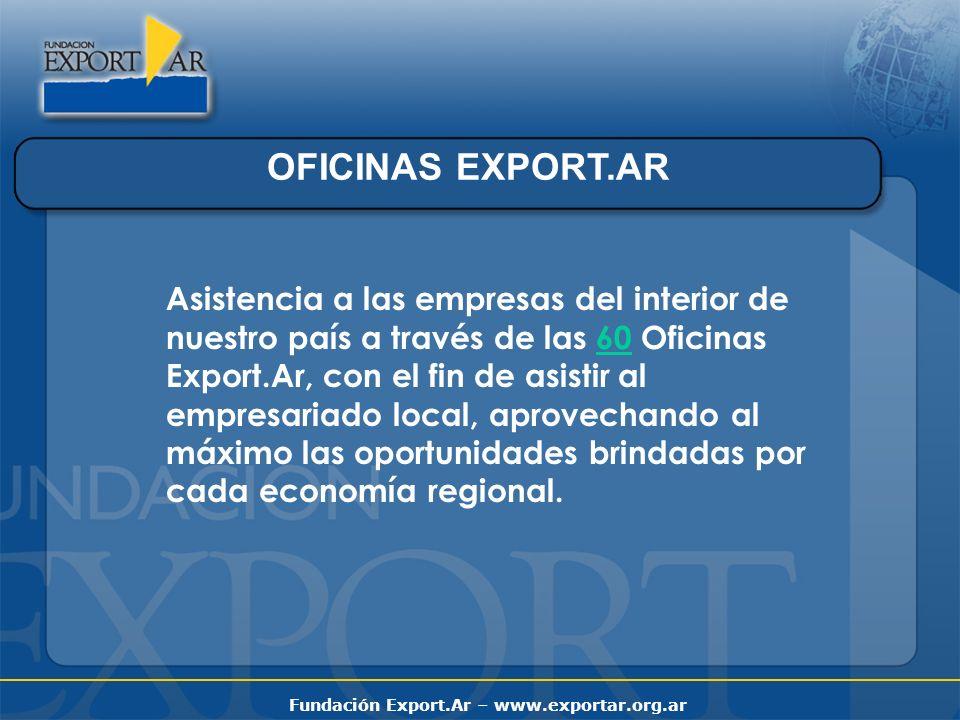 Fundación Export.Ar – www.exportar.org.ar OFICINAS EXPORT.AR Asistencia a las empresas del interior de nuestro país a través de las 60 Oficinas Export