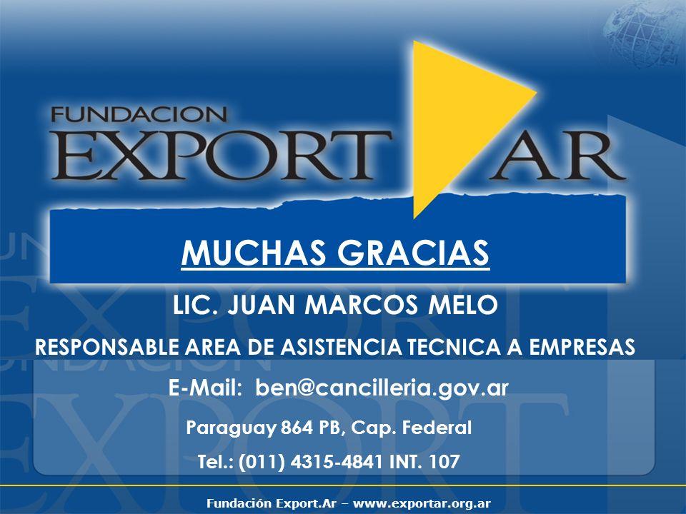 Fundación Export.Ar – www.exportar.org.ar MUCHAS GRACIAS LIC. JUAN MARCOS MELO RESPONSABLE AREA DE ASISTENCIA TECNICA A EMPRESAS E-Mail: ben@canciller