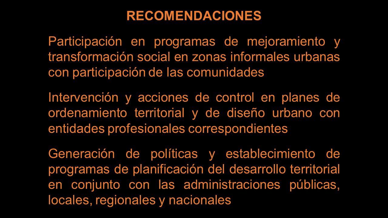RECOMENDACIONES Participación en programas de mejoramiento y transformación social en zonas informales urbanas con participación de las comunidades In