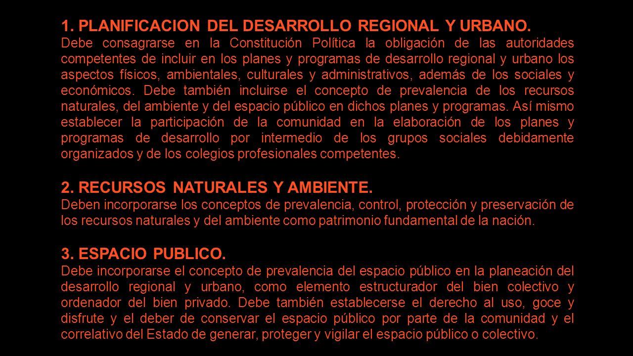 1. PLANIFICACION DEL DESARROLLO REGIONAL Y URBANO. Debe consagrarse en la Constitución Política la obligación de las autoridades competentes de inclui