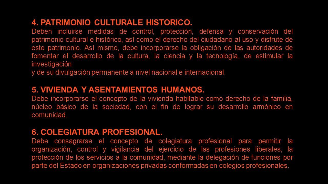 4. PATRIMONIO CULTURALE HISTORICO. Deben incluirse medidas de control, protección, defensa y conservación del patrimonio cultural e histórico, así com