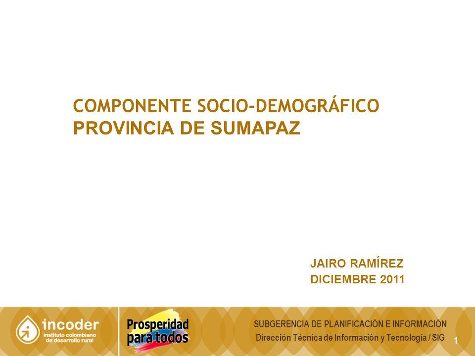 1 COMPONENTE SOCIO-DEMOGRÁFICO PROVINCIA DE SUMAPAZ JAIRO RAMÍREZ DICIEMBRE 2011 SUBGERENCIA DE PLANIFICACIÓN E INFORMACIÓN Dirección Técnica de Información y Tecnología / SIG