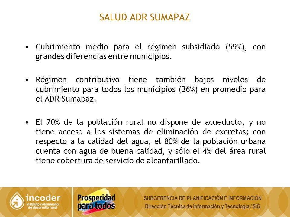 SALUD ADR SUMAPAZ Cubrimiento medio para el régimen subsidiado (59%), con grandes diferencias entre municipios.