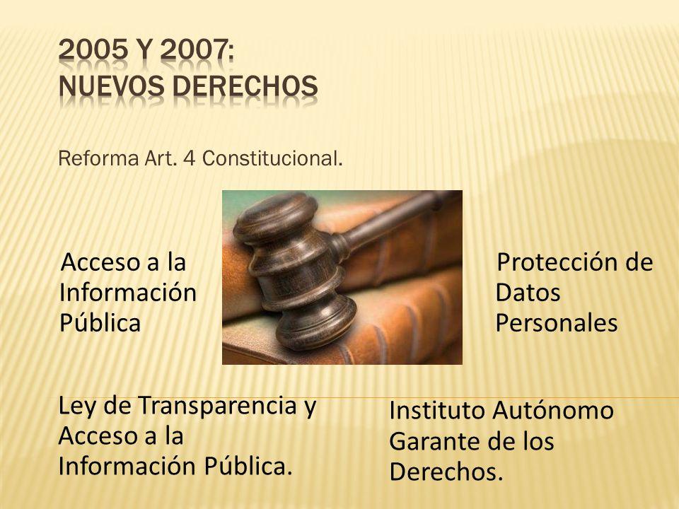 Reforma Art. 4 Constitucional. Ley de Transparencia y Acceso a la Información Pública. Acceso a la Información Pública Protección de Datos Personales