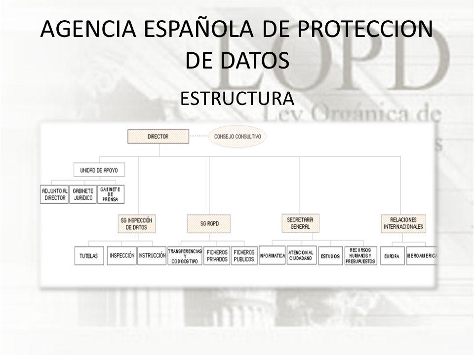 AGENCIA ESPAÑOLA DE PROTECCION DE DATOS ESTRUCTURA