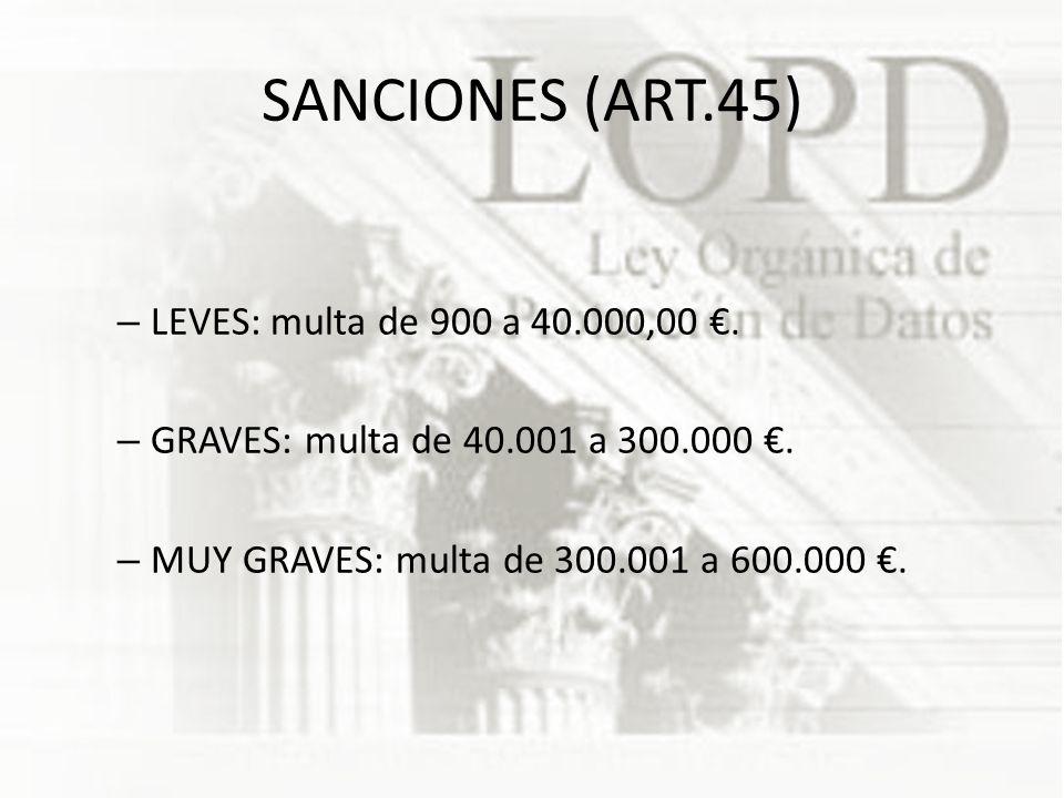 SANCIONES (ART.45) – LEVES: multa de 900 a 40.000,00.
