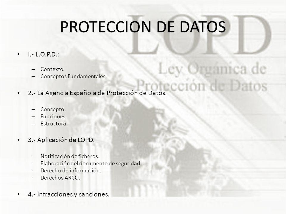 PROTECCION DE DATOS I.- L.O.P.D.: – Contexto.– Conceptos Fundamentales.