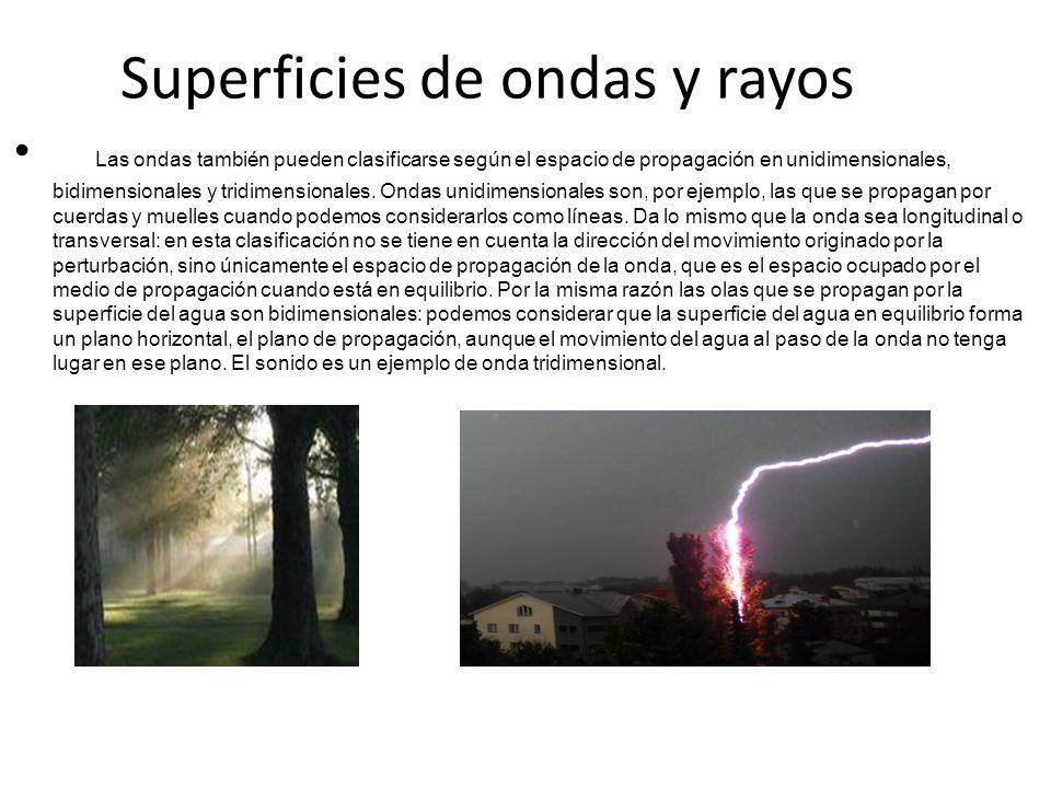 Superficies de ondas y rayos Las ondas también pueden clasificarse según el espacio de propagación en unidimensionales, bidimensionales y tridimension
