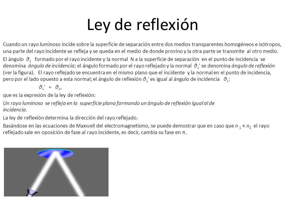 Ley de reflexión Cuando un rayo luminoso incide sobre la superficie de separación entre dos medios transparentes homogéneos e isótropos, una parte del rayo incidente se refleja y se queda en el medio de donde provino y la otra parte se transmite al otro medio.