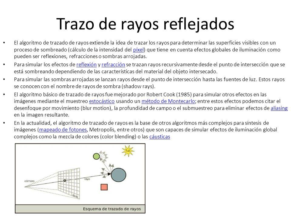 Trazo de rayos reflejados El algoritmo de trazado de rayos extiende la idea de trazar los rayos para determinar las superficies visibles con un proceso de sombreado (cálculo de la intensidad del píxel) que tiene en cuenta efectos globales de iluminación como pueden ser reflexiones, refracciones o sombras arrojadas.píxel Para simular los efectos de reflexión y refracción se trazan rayos recursivamente desde el punto de intersección que se está sombreando dependiendo de las características del material del objeto intersecado.reflexiónrefracción Para simular las sombras arrojadas se lanzan rayos desde el punto de intersección hasta las fuentes de luz.