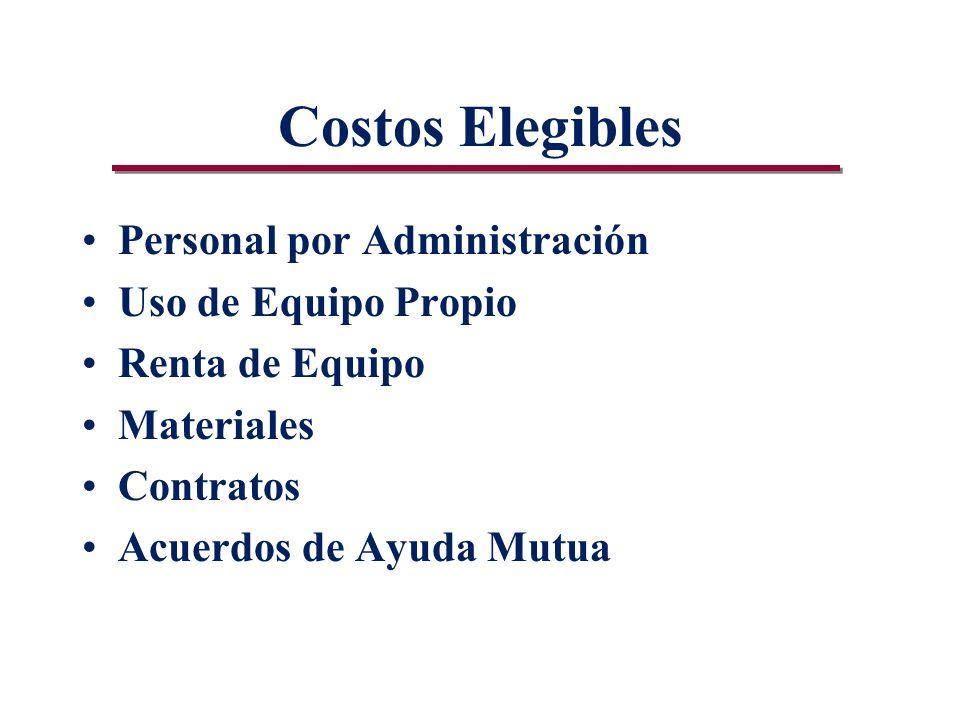 Costos Elegibles Personal por Administración Uso de Equipo Propio Renta de Equipo Materiales Contratos Acuerdos de Ayuda Mutua