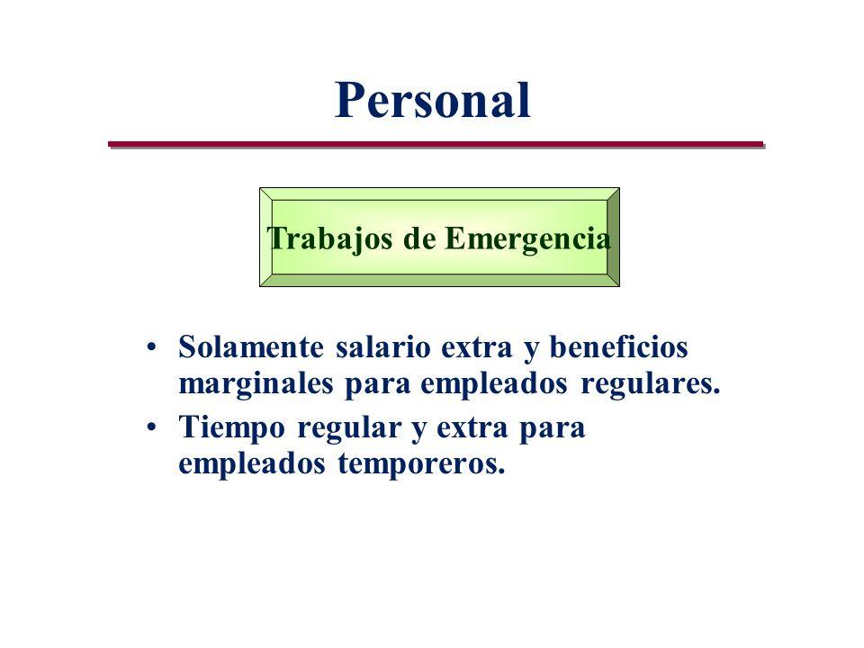 Personal Solamente salario extra y beneficios marginales para empleados regulares.
